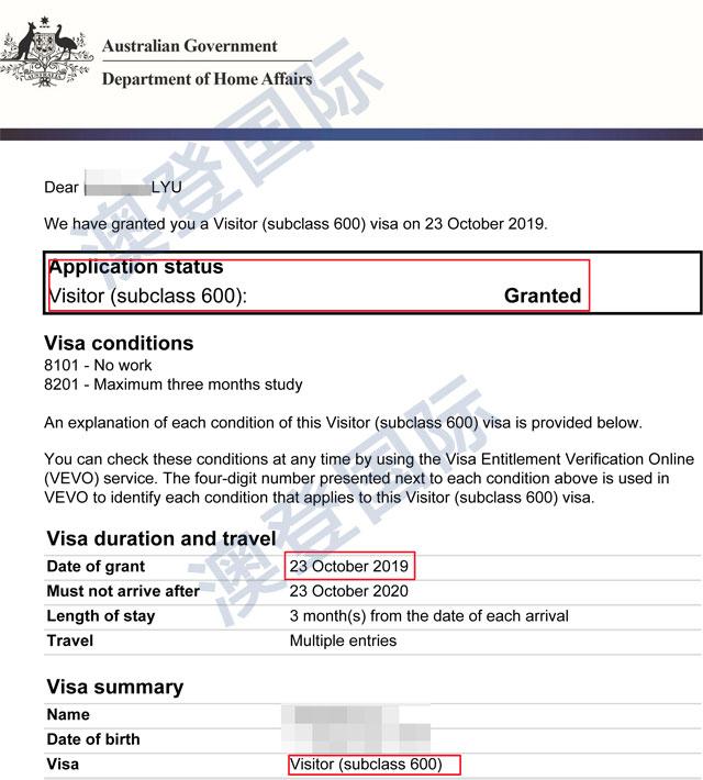 恭喜吕先生澳洲访问签证成功下签