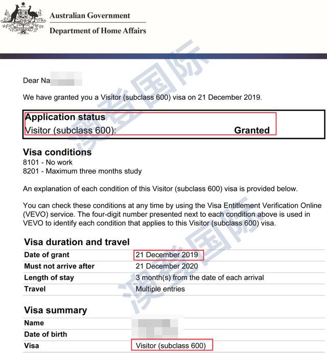 恭喜张女士澳大利亚访问签证成功下签